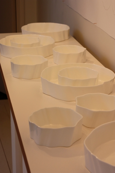 Tavs Jorgensen bone china pieces at the Wills Lane Gallery