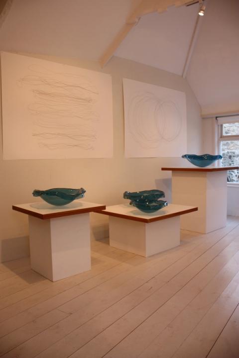 Tavs Jorgensen glass pieces at the Wills Lane Gallery