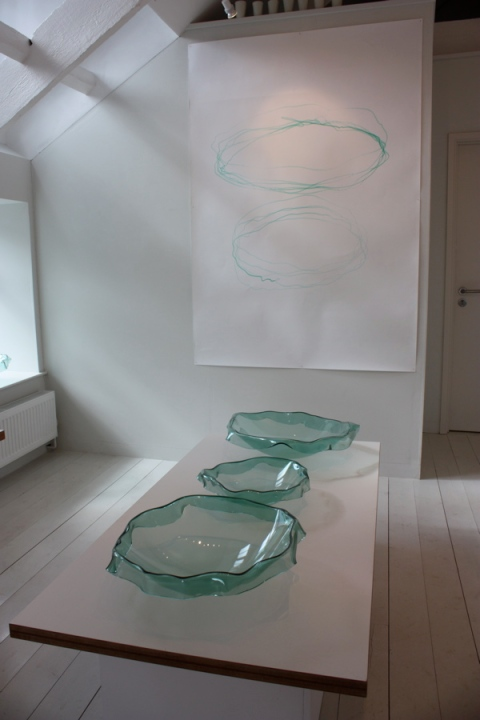 Glass bowls by Tavs Jorgensen at the Wills Lane Gallery